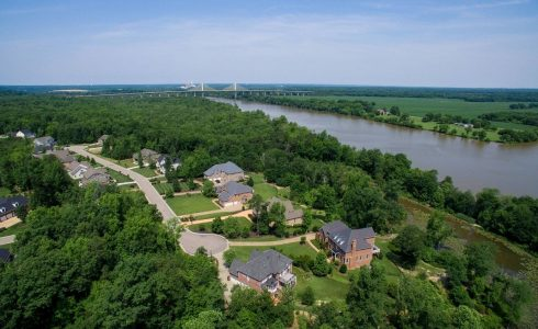 Aerial view of the James River with homes in Meadowville Landing in the foreground.