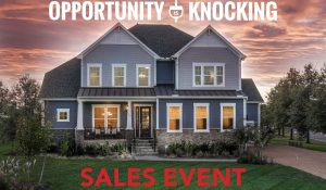"""Promotional flyer which reads, """"Opportunity is knocking sales event."""""""