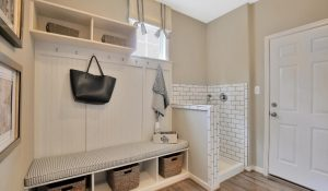 Model home foyer area with pet wash station with white tile.