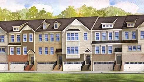 Row of HHHunt Homes town homes in Apex, North Carolina