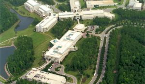 Aerial photo of business park in the Research Triangle.
