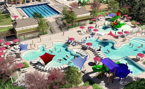 Resort-style pool by HHHunt Homes. Rendering showing multiple people in the water.