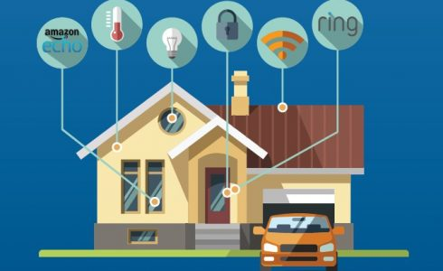Illustration of home with orange car in driveway with symbols of smart features of the home.