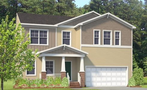 HHHunt Homes single family home Granite Falls Raleigh, NC tan in color