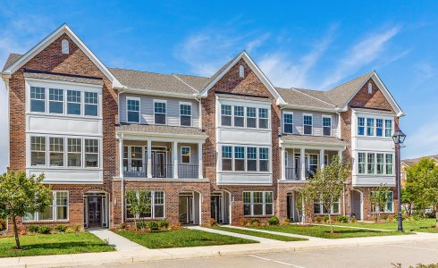 Row of HHHunt Homes town homes in Patrick Henry Place in Newport News, Virginia.