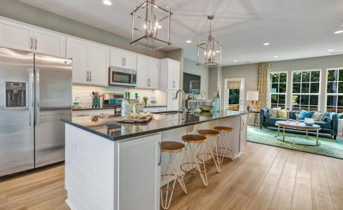 HHHunt Homes Stonebridge Gardens town home model kitchen overlooking a forest.