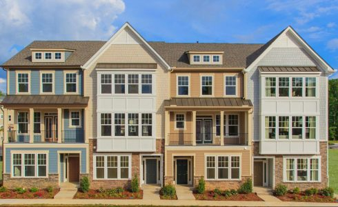 HHHunt Homes row of town homes in Quarterpath at Williamsburg Townes.