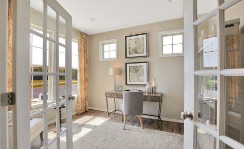 Home Office viewed through open doors
