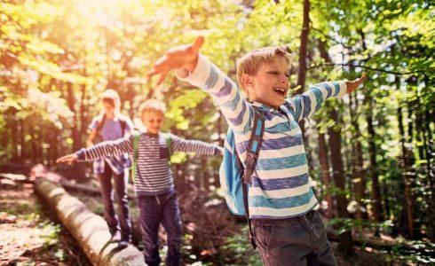 three boys in woods