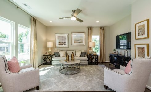 Living Room with ceiling fan light colored rug and furniture