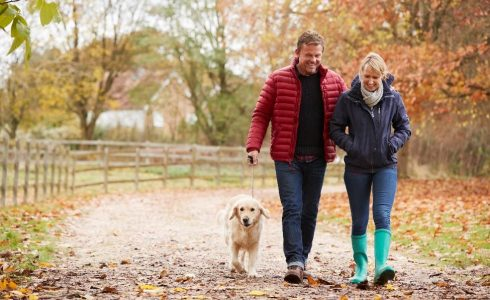 Man, woman and dog walking on trail in fall