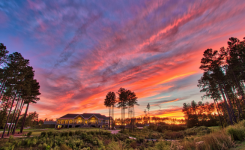 Magnolia Green Clubhouse at sunset
