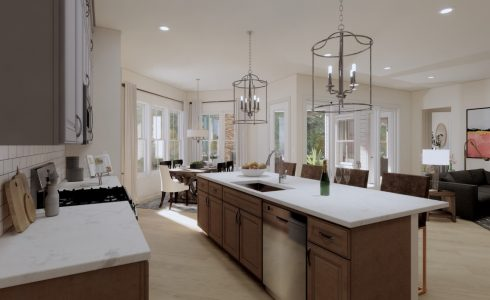 open concept kitchen dining room and den