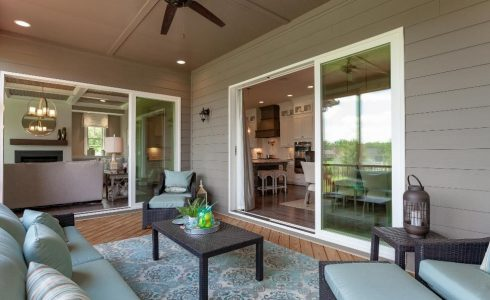 Screened porch at Banks Pointe by HHHunt Homes