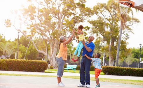 family on basketball court