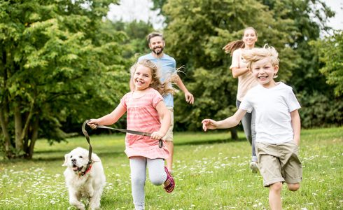 family with dog summer running in field